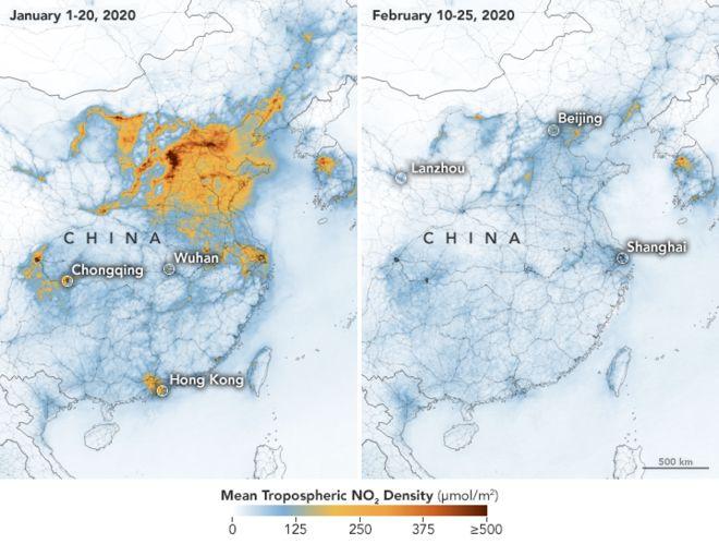 冠狀病毒:美國國家航空航天局的圖像顯示中國的污染在經濟放緩的情況下清晰可見